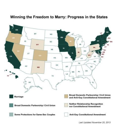 Same-sex marriage status as of November 2013, from  Freedom to Marry